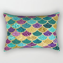 Glitter Blues, Purples, Greens, and Gold Mermaid Scales Rectangular Pillow