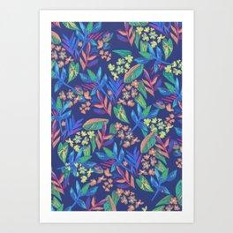 Multicolor Flowers & Leaves Pattern Art Print