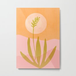 Desert Moon With Agave Metal Print