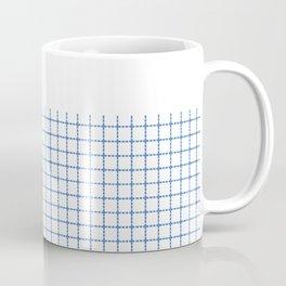 Dotted Grid Boarder Blue on White Coffee Mug