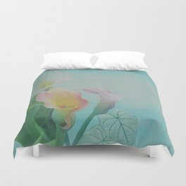 Painterly Calla flowers and leaves Duvet Cover
