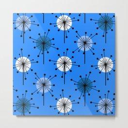Atomic Era Sputnik Starburst Flowers Blue Metal Print