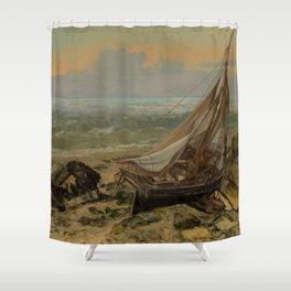 "Gustave Courbet ""The Fishing Boat"" Shower Curtain"