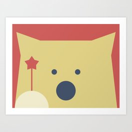 Peek-a-Boo Bear with Star Gift, Gold and Navy on Warm Red Art Print