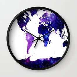 world map. (Blue Purple Galaxy) Wall Clock