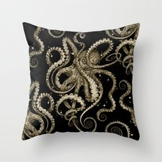 Octopsychedelia Sepia Throw Pillow