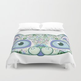 Chromatic Cat III (Green, Blue, Pink) Duvet Cover