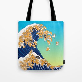 Shiba Inu in Great Wave Tote Bag