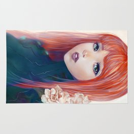 Captain Goldfish - Anime sci-fi girl with red hair portrait Rug