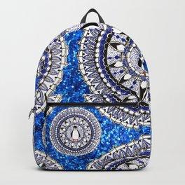 Blue Sparkle Holiday Penguin Mandala Textile Backpack