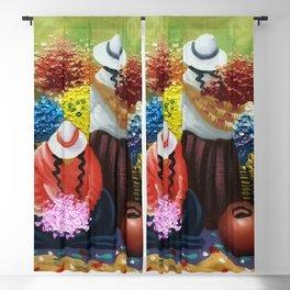 La Paz Altiplano Plateau Flower Sellers floral painting Blackout Curtain