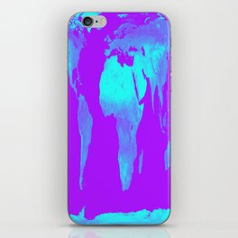 World Map Turquoise & Purple iPhone Skin