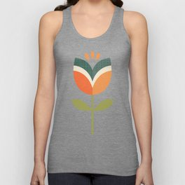 RETRO TULIP - ORANGE AND OLIVE GREEN Unisex Tank Top