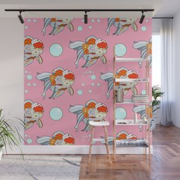 Lion Head Goldfish Pink Wall Mural