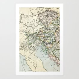 Austria Vintage Map Art Print
