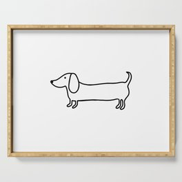 Simple dachshund black drawing Serving Tray