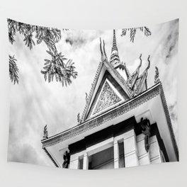 Killing Fields Stupa in Black & White, Cambodia Wall Tapestry