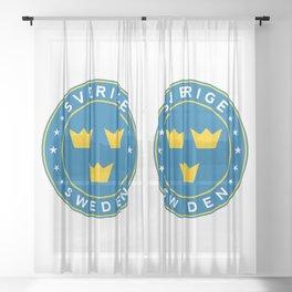 Sweden, Sverige, 3 crowns, circle Sheer Curtain