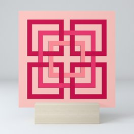 Modern Geometric Squares, Coral Pink and Coral Red Mini Art Print