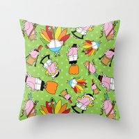 thanksgiving Throw Pillows featuring Thanksgiving Crew by Pig & Pumpkin