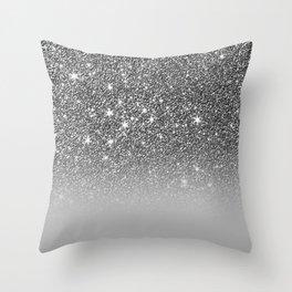 Bullet Gray & Silver Glitter Gradient Throw Pillow