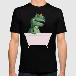 Playful T-Rex in Bathtub in Green T-shirt