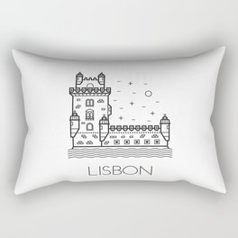 Belém Tower Lisbon Portugal Black and White Rectangular Pillow