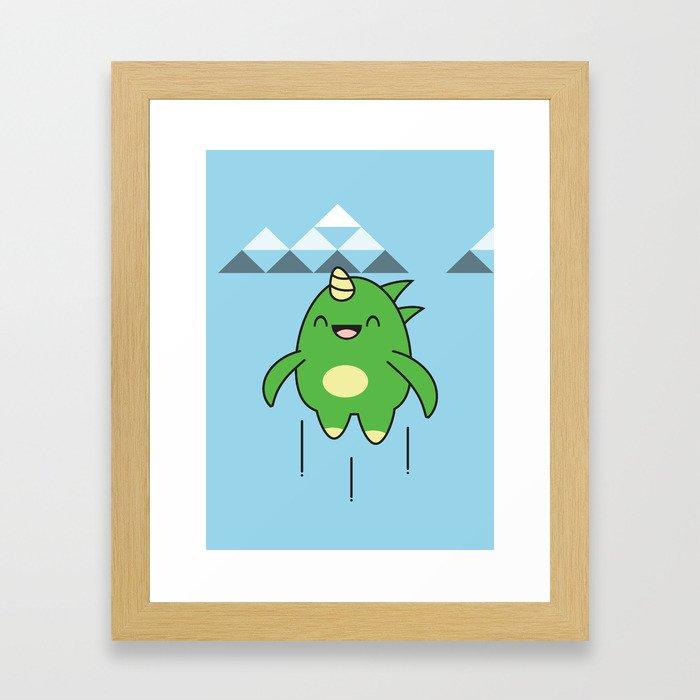 Kawaii Dragon Framed Art Print