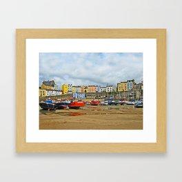Tenby Harbour . Sunlight. Pembrokeshire. Wales. Framed Art Print