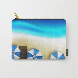 Couple of umbrellas on the beach, graphic art Carry-All Pouch