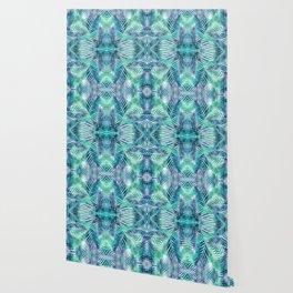 Palm Leaves - Indigo Green Wallpaper