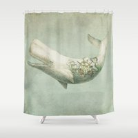 led zeppelin Shower Curtains featuring Far and Wide by Eric Fan