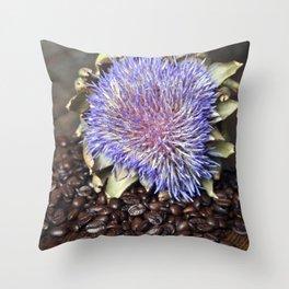 Fresh Coffee Beans with Blue Artichoke Throw Pillow