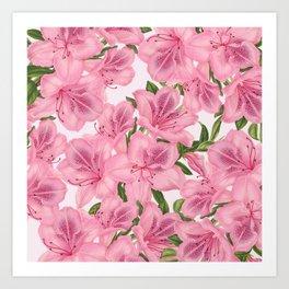 Vintage Blush Pink Burgundy Green Flowers Pattern Art Print