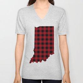 Indiana - Buffalo Plaid Unisex V-Neck