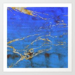 Sky Blue Marble With 24-Karat Gold Nugget Veins Art Print