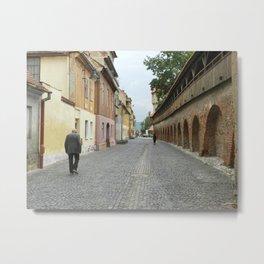 Old Walls, Old Man Walking Metal Print