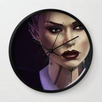mass effect Wall Clocks featuring Mass Effect: Jack by Ruthie Hammerschlag