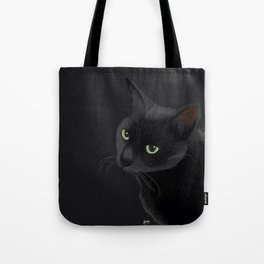 Black cat in the dark Tote Bag