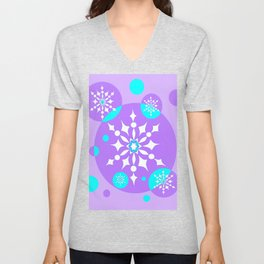 A Lavender and Aqua Snowflake Design Unisex V-Neck