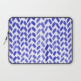 Cute watercolor knitting pattern - blue Laptop Sleeve