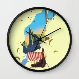 Gotland Viking map. Wall Clock