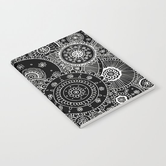 Lacy White Mandalas on Black Notebook