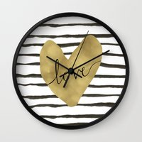 gold foil Wall Clocks featuring Love gold foil heart by Retro Love Photography