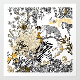 Woman with a cheetah - Peggy nille Art Print