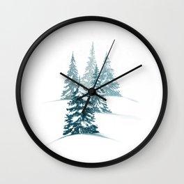 Snowy Winter Evergreens  Wall Clock