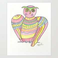 Owl hand drawing Art Print