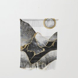 Minimal Black and Gold Mountains Wall Hanging