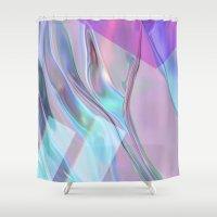 hologram Shower Curtains featuring bleu cheez by ARABELLA ART