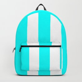 Electric cyan heavenly - solid color - white vertical lines pattern Backpack